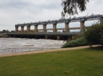 The Weir Bridge between Yarrawonga and Mulwala at capacity in October 2016